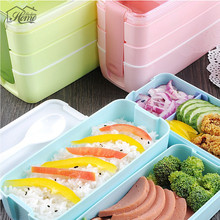 Portable Cute 900ml 3 Layer Healthy Food Container Microwave Oven Bento Boxes Lunchbox  For Kid Picnic Container Food Storage