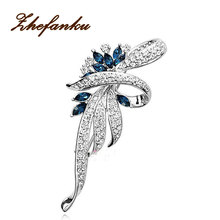 Crystal Flower Brooch Pin Fashion Rhinestone Jewelry Women Wedding Pins Large Brooches For Women(China)