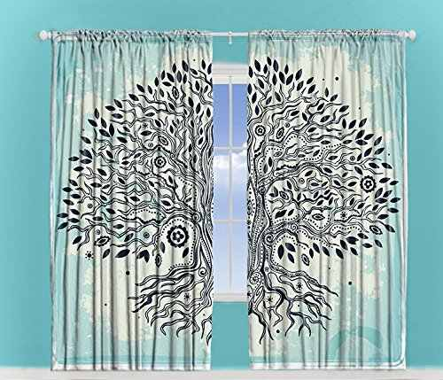 Turquoise Curtains Creative Home Decor Chinese Bonsai Tree of Life with Evil Eyes Art Print Window Drapes Bedroom Living Room