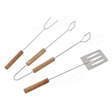 3PCS STAINLESS STEEL BBQ GRILL TOOL SET OUTFOOR BARBECUBE TOOL SET SHOVEL BARBECUE CLIP GRILL FORK BBQ ACCESSORIES
