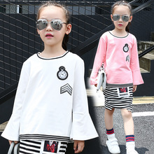 Fashion Clock Design T-shirt For Girl 2017 News Flare Sleeve T-Shirt Sweet Girls Tshirt Solid White Pink Child Tops Ropa Nina(China)