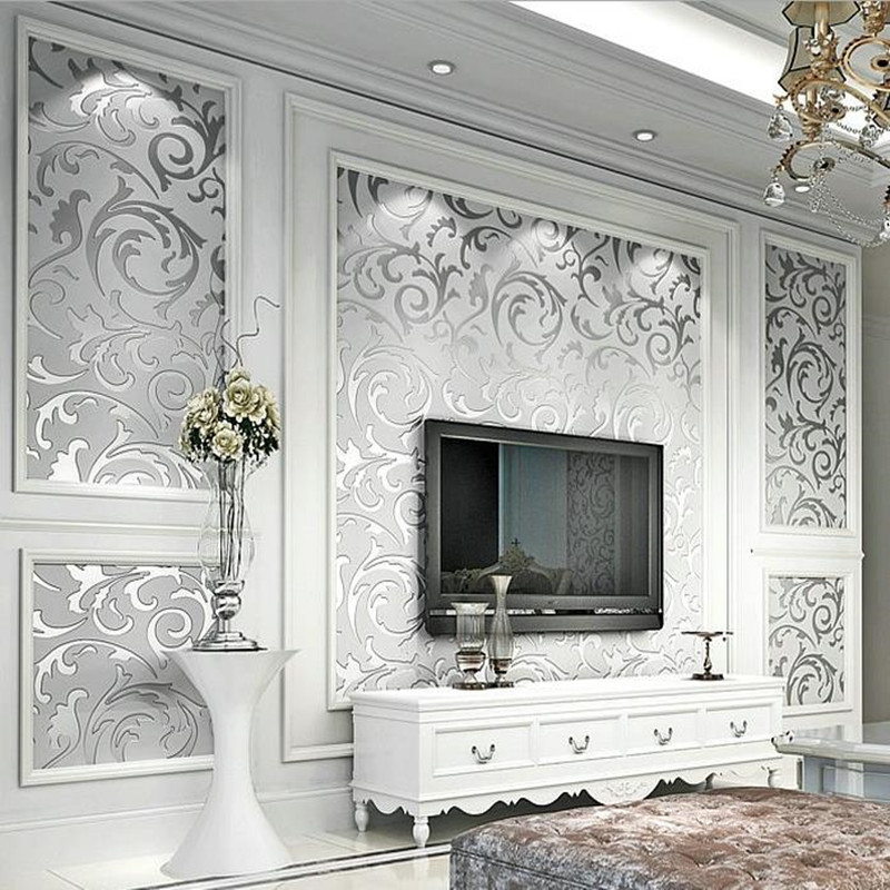 Luxury European Modern Wallpaper Non-woven Mural Wallpapers Roll Silver Golden Living Room Sofa TV Background 10M 3D Wall Paper <br>