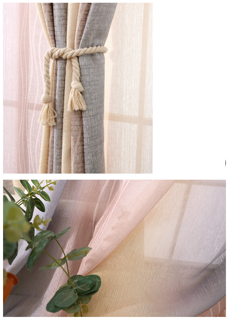 White Silk Cotton Hemp Color Gradient Shading Printing Water Waves Curtains for Living Room Bedroom Shading 9