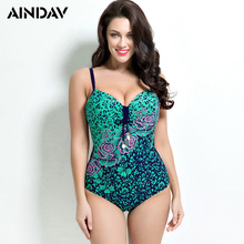 New Arrival Floral Print One Piece Swimsuit Slim Swimming Suit for Women Bathing Suit Large Push Up Swimwear Plus Size Monokini(China)