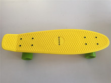 "Pastel Yellow 22"" Style Skateboard Child Cruiser Mini Longboard Plastic Fish Skate Long Board With Green Wheels"