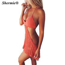 hot Women Sexy Hot Red Openwork Knit Backless Halter Crochet Bathing Suit Swimsuit Swimwear Beach Dress Crochet Cover Up