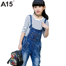 A15 Spring Kids Jeans Jumpsuit Ripped Jeans for Kids Girls Teenage Jeans Pants Bib Jean Overalls Kids Clothes Age 6 9 10 14 Year