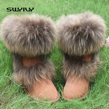 100% Nature Leather Fox Fur Winter Snow Boots Mid-Calf Top Quality Warm Shoes Woman Botas Femininas(China)