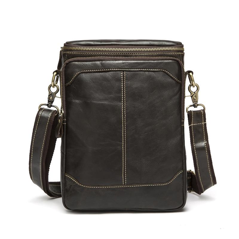 Mens Genuine Leather Handbag Cowhide Leather Crossbody Shoulder Sling Bag Big Capacity Messenger Bag Portfolio MR8003<br>