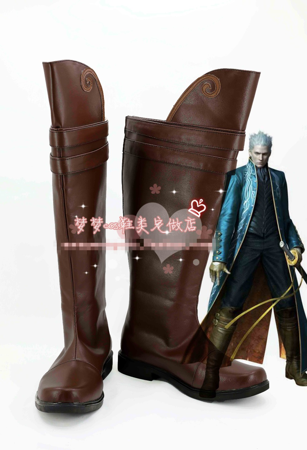 Free Shipping Game Devil May Cry 3 Vergil Cosplay Shoes Brown High Boots Custom-made