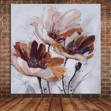 100% Hand Painted Oil Painting Simple Flowers Knife Painting Chinese Wall Art Canvas Mural For Dining Living Room (No Frame)