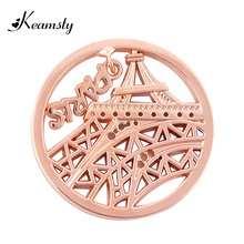 Keamsty New Arrival Parisian Inspired Necklace Paris Dangle Eiffel Tower fit with 35mm Coin Holder Necklace(China)
