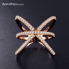 ANFASNI Trendy Rose Golden Color Ring X Shape Cross Rings with Micro Paved Cubic Zirconia Rings For Women Bague Femme CRI1051