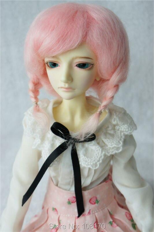 JD253 1/4 MSD  mohair wigs short double braid BJD hair<br>