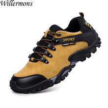 Summer Men's Outdoor Genuine Pig Leather Hiking Boots Shoes Men Breathable Camping & Climbing Sports Shoes(China)