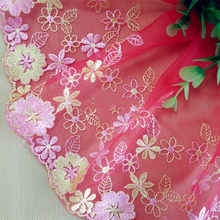5Yards Embroidered Lace Trim Organza Flower Mesh Sewing Trim Decorative Lace Accessories Wedding Dress Fabric High Quality()