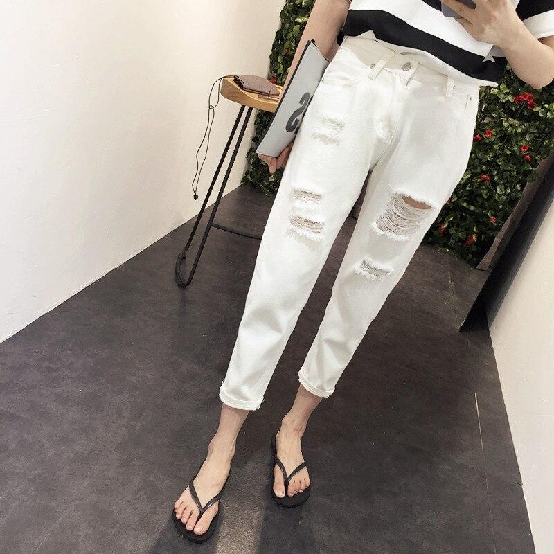 Spring Summer Women White Ripped Boyfriend JeansОдежда и ак�е��уары<br><br><br>Aliexpress