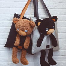 YILE PU Leather Shoulder Bag Shopping Tote Stuffed Bear Applique 3 Colors to Choose NN6015(China)
