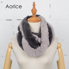 Aorice SF764 2017 The new winter women scarf fur scarf real rabbit hair style of the long style of hair scarf comfortable warmt(China)