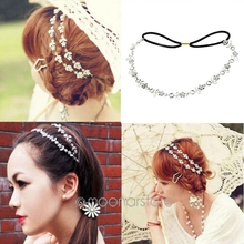 Hot Lady Elegant Elastic Rhinestone Diamond Headbands Wedding Bridal Flower Headband Hairbands Headwear Head Band Head Chain