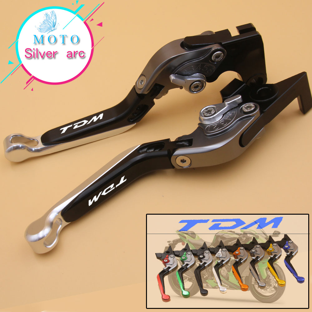 laser Logo silver&amp;Titanium For Yamaha TDM 900 2012 2013 2014 Adjustable Folding Extendable CNC Motorcycle Brake Clutch Levers<br>