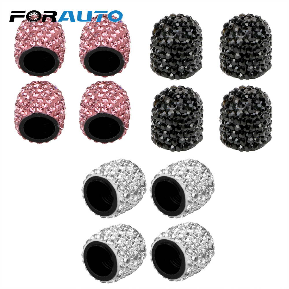 4 piece pink Crystal Rhinestone Tire Wheel Stem Valve Cap cover for Car Truck