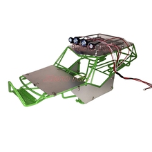 1/10 RC AXIAL WRAITH FULL Metal FRAME BODY ROLL CAGE WITH ROOF RACK AND ALLOY SHEETS (GREEN)(China)