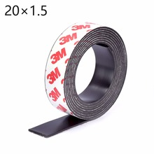High Quality 1 Meter self Adhesive Flexible Magnetic Strip 3M Rubber Magnet Tape width 20mm thickness 1.5mm Free Shipping 20*1.5