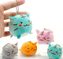 Kawaii 4Colors Choice - 6CM TIGER CAT Plush Key chain DOLL Plush Stuffed TOY DOLL ; Kitty Pendant TOY Wedding Bouquet Gift DOLL(China)