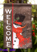 "Snowman Welcome - Decorative Winter Christmas Black Flag""12.5 x 18"" ""28 x 40"" Inches"