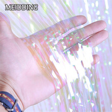 MEIDDING-Iridescent Foil Fringe Curtain Decoration Shimmer Curtain Photo Booth Backdrop for wedding/Christmas celebration party