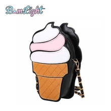 Bomlight Cute Cartoon Women Bag Ice Cream Shape Mini Shoulder Bag Metal Chain Mobile Keys Lady Bags Coin Crossbody Messenger Bag(China)