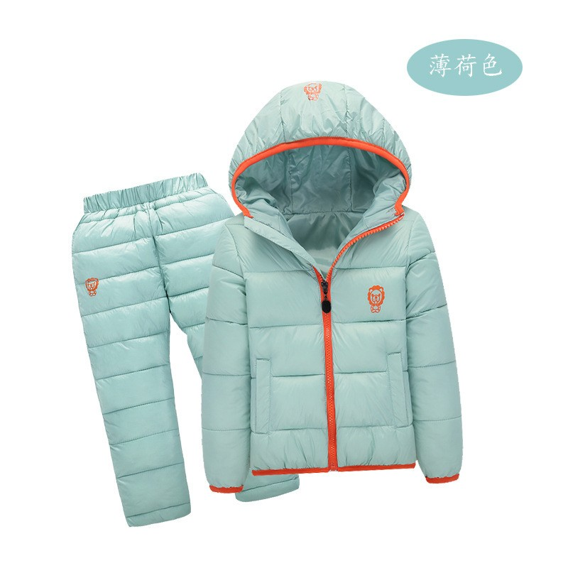 Image Children Set Boys Girls Clothing Sets Winter 1 6year hoody Down Jacket+Trousers Waterproof Snow Warm kids Clothes suit 6 color
