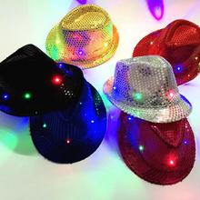 Led Flash Sequins hat Adults children Hip-Hop Light Up Jazz Cap Hats Dance Club Event Party Festive Birthday stage perform props(China)