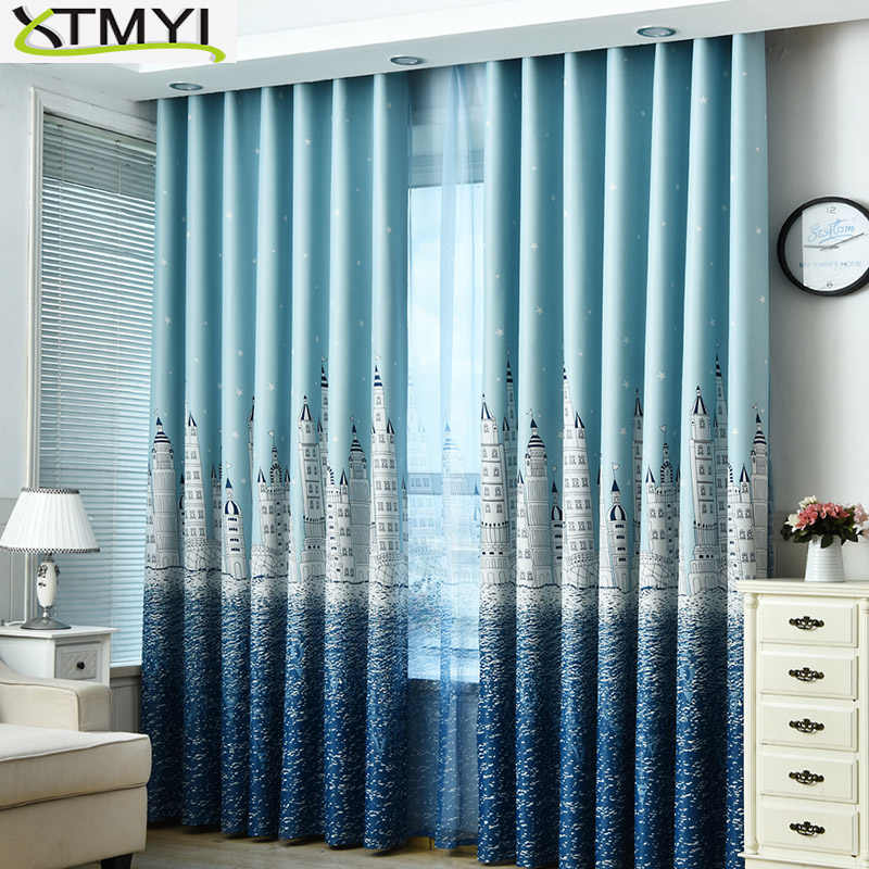 Boy Girl Bedroom Cortinas Living Room Blue/Pink Blackout curtains Custom Made Drapes Children Cloth Curtains For Kids