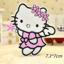Angel Hello Kitty Wearing Pink Flowers Badge Embroidered Iron-on Patches Garment Appliques DIY Accessory 5pcs/lot