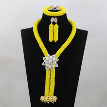 Elegant Yellow Crystal African Beads Jewelry Set Nigerian Bead Necklaces Bracelet Earrings Celebration QW783