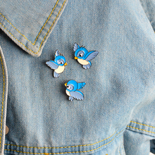 3pcs/set Blue bird Brooch Enamel pins Buckle Cartoon flying fledgling Animal Brooch Pin Jacket Bag Badge Gift for Kids Jewelry