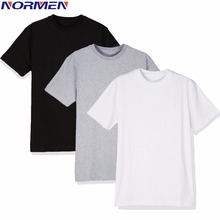 NORMEN Men's Undershirts Cotton Classics 3 Pack Round Neck Tshirts Man Solid Cheap Casual Shirt Men Tops camisa masculina(China)