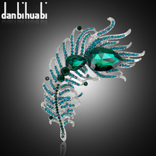 danbihuabi Large Vintage Brooch for Headscarf Feather Collar Pin and Brooches for Women Wedding Jewelry Fashion Accessories