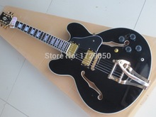 Custom Shop wholesale High quality mahogany black ES 335 Electric guitar Free shipping with bigsby  tremolo in stock 2017