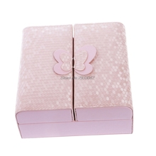 1Pcs Jewelry Faux Leather Box Storage pink/blue/white color Organizer Case Ring Earring Necklace Display-W128