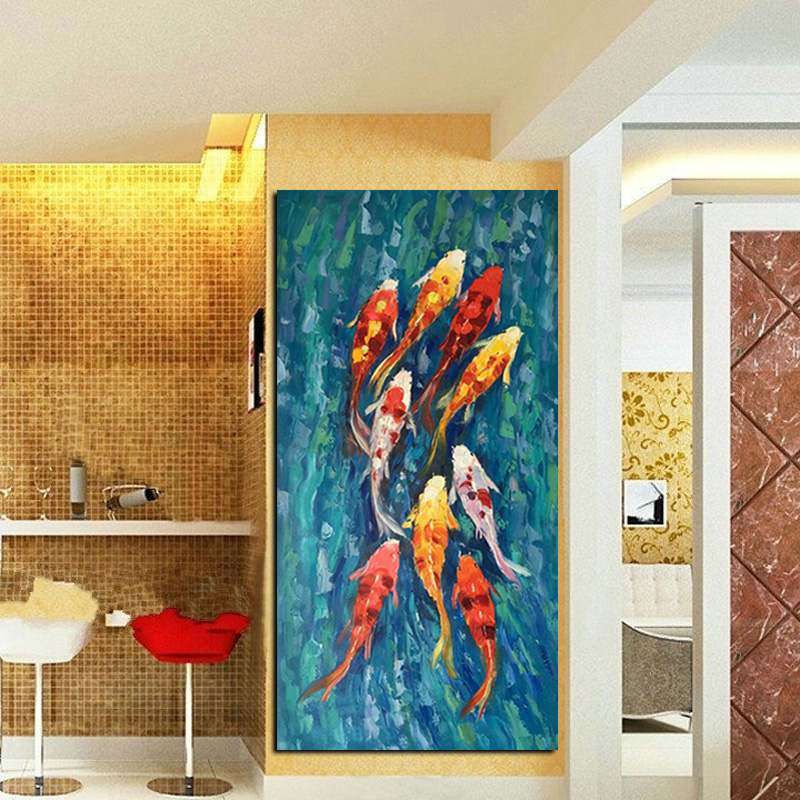 Wall Art Picture HD Print Chinese Abstract Nine Koi Fish Landscape Oil Painting on Canvas Poster For Living Room Modern Decor (2)