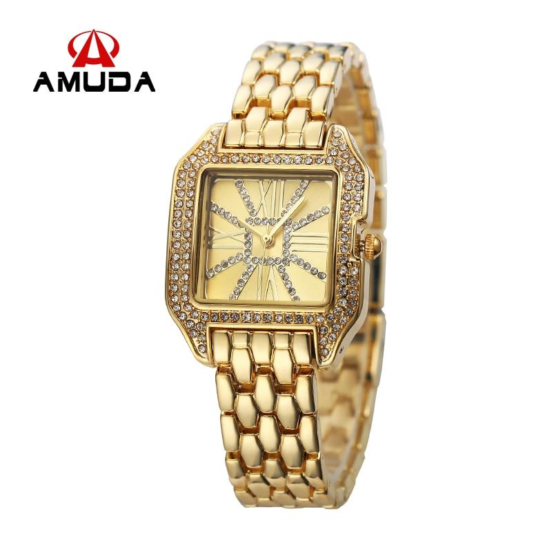 AMUDA Quartz Brand Lady Watches Women Luxury Gold Diamond Antique Square Casual Leather Dress Wristwatch Relogio Feminino Montre<br><br>Aliexpress