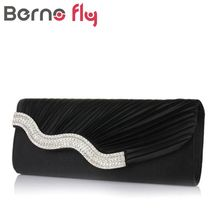 Diamond Lady Clutch Dinner Bags Party Elgant Cellphone Clutches Women Purse Chain Shoulder Bags Satin Silver Clutch Evening Bag