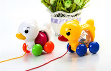 Rope tease baby toddler cartoon duck children's educational toys with rattles function