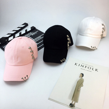 2017 Popular Casual Men Women Baseball Cap Fashion Adjustable Solid Hip Hop Rings Chain Decoration Caps Unisex Summer Fall Hat(China)