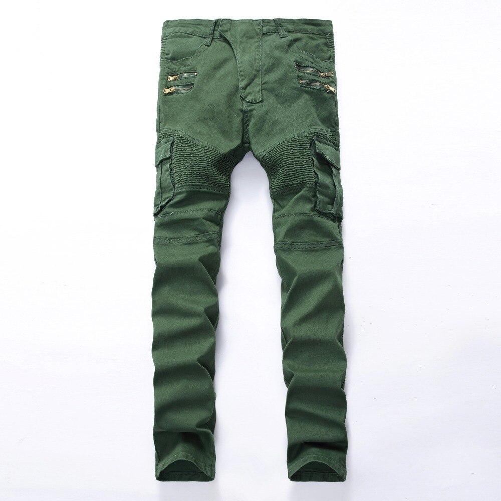 Italian Style Mens Denim Biker Jeans Cargo Pants With Side Pockets Army Green Trousers Jeans Men Brand Jean Slim Homme Size 42Îäåæäà è àêñåññóàðû<br><br>