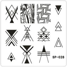 Geometric Triangle Nail Printing Template Stripe Nail Art Polish Plate Lines Crossing Design Template SP028