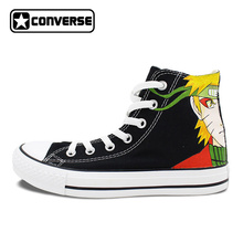 Men Women Converse All Star Shoes Anime Naruto Uzumaki Design Custom Hand Painted Shoes Black High Top Boys Girls Sneakers